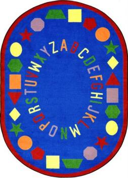 An oval shaped blue alphabet preschool rug for the classroom.