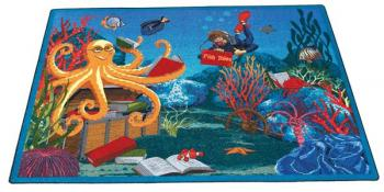"A rectangle shaped ""Fish Tales"" underwater scene carpets for classroom rug."