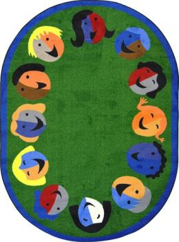 An oval shaped green kids carpet for the classroom.