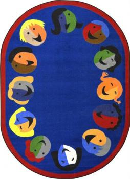 An oval shaped blue kids carpet for the classroom.