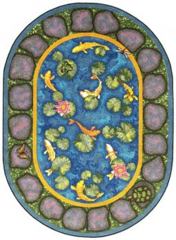 A view of the garden growing kids rug. Children will learn the joy of growing a garden with this soft, safe rug, made with non wrinkle backing.