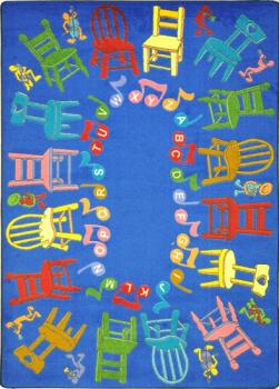 A close view of the kids carpet allows us to see the chair shapes woven into the carpet, making for an energizing and fun game of musical chairs.