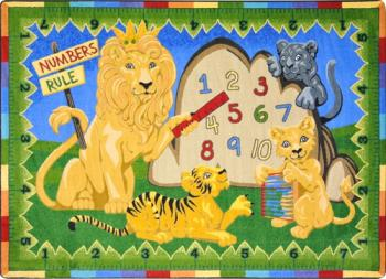 A bright children s rug depicts colorful yellow lions and helps to make an otherwise tedious math lesson into fun.