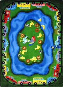 A front view of the Puddle Ducks educational carpet shows numbered ducks and cars driving around its perimeter.