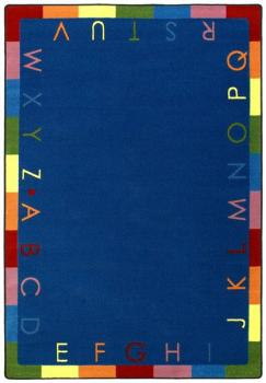 A rectangle shaped alphabet educational rug for the classroom.