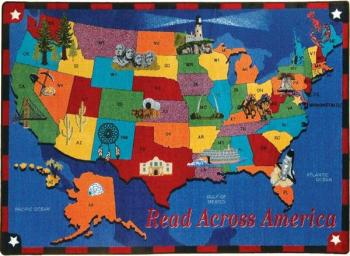 A brightly colored kids rug covered with a brilliant map of the United States.
