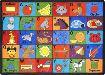 A rectangle shaped alphabet ABC classroom rug.