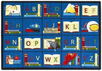 A rectangle shaped alphabet daycare rug.