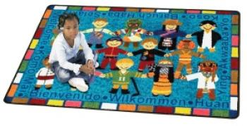 "The multicultural ""Hello"" rug for children is shown in a smaller size."