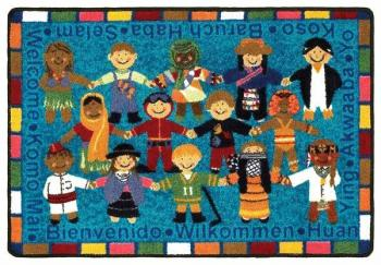 "A large rug from children is shown in vibrant detail. The word ""hello"" is written in many different languages and the rugs construction goes above and beyond the safety regulations set into place by the EPA."