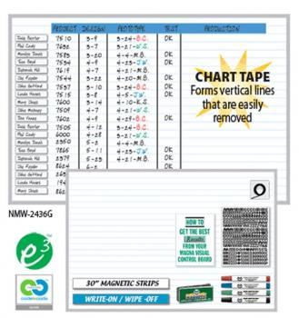 A magnetic dry erase scheduling whiteboard with large write on wipe off strips and horizontal blue lines.