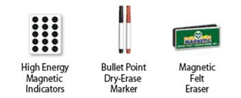 High energy magnetic indicators, magnetic dry eraser and two dry erase markers included.