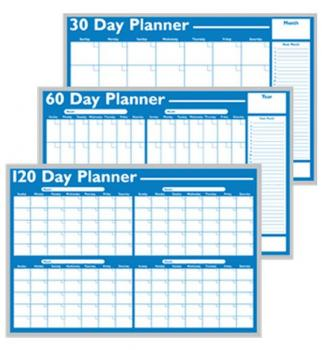 A two-month whiteboard planner shown in three calendar formats.