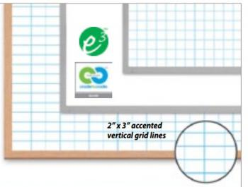 This display shows several different sizes of dry erase grid boards.
