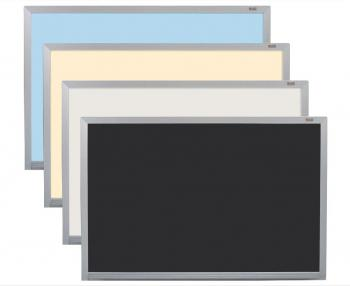 Whiteboard Dry Erase Boards shown in Blue, Yellow, Silver, and Black