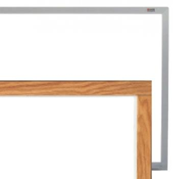 A close up side by side comparison of the large melamine whiteboard is shown in the two frame options, aluminum and wood.