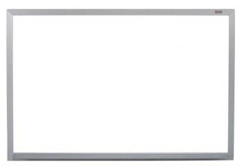 A wall mounted large melamine white board trimmed in aluminum frame is shown. It is available in many sizes and is very economical.