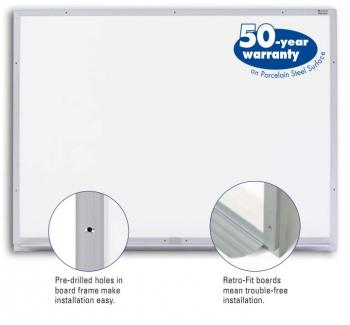 A retro fit dry erase board is displayed with a porcelain steel surface.