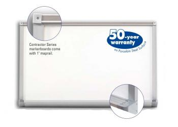 A magnetic whiteboard is displayed with a silver aluminum frame.