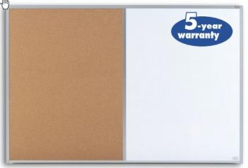 This cork dry erase board combo allows you to post permanent notices on one side and to write messages that change frequently on the other.
