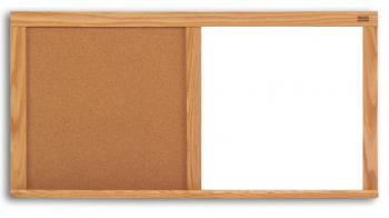 A dual use teaching tool, the cork dry erase board is displayed in a wooden frame.