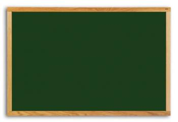 A green chalkboard with wood trim for a school.