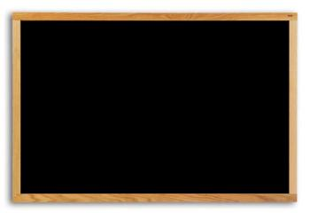This is a black painted hardboard wood framed chalkboard that is an exceptional value. Includes a full length accessory tray.