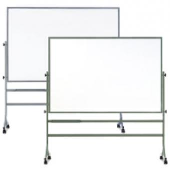 On display are two different sized free standing dry erase reversible white boards. They are mounted on aluminum frames and swivel 360 degree and have a lock pin system to stabilize the board, Casters allow you to move the white board around the classroom easily.