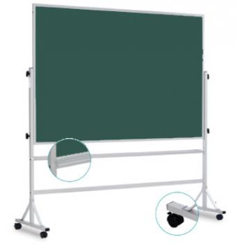 A Green, Rolling Double Sided chalkboard for classroom.