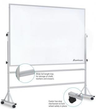 A magnetic rolling whiteboard on an aluminum frame with rolling casters is shown. Made from porcelain coated steel, the board is guaranteed for 50 years.