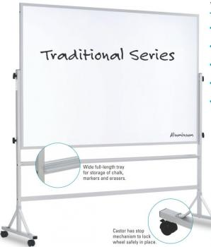 This freestanding combination cork dry erase board features a dry erase whiteboard on one side and a cork board on the other.