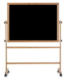This black free standing chalkboard sits on a wooden stand with a full length accessory tray. The board rotates and locks into place and the entire stands moves easily around  room on casters.