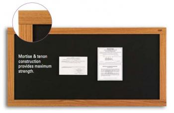 On display is a black cork bulletin board with notices attached to its self healing surfaces.