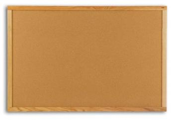 A natural cork board in a sold wood frame for durability.