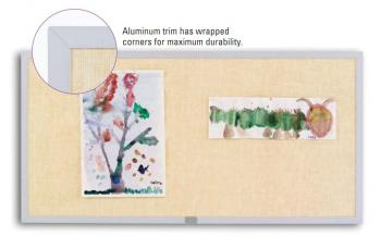 A fabric covered bulletin board is posted with artwork attached to it. There is also a close up of the durable aluminum corners.