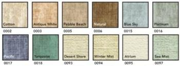 A view of the soft colored samples to cover your fabric covered bulletin board with.