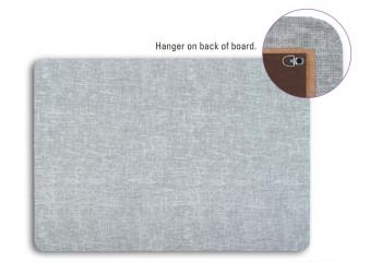 A fabric board is displayed with a close up of the horizontal and vertical hangers.