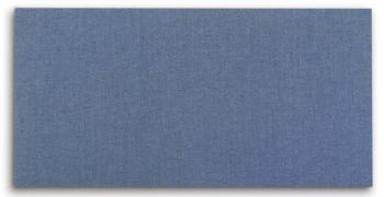 A fabric memo board is shown in horizontal position in blue. It can also be mounted in a vertical position with included hangers.