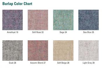 Eight samples of the unique colors that the fabric memo board is available in.