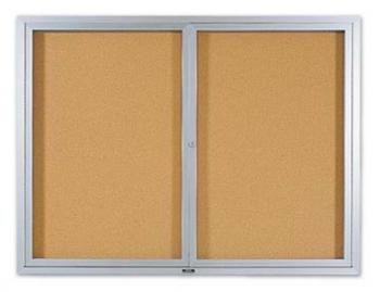 A double aluminum framed glass covered bulletin board is shown.