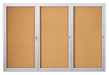 This is a triple aluminum framed glass covered bulletin board.