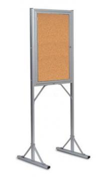 The displayed free standing cork board is placed on a base of steel, keeping the cork board from falling over. The board itself is held in an aluminum frame and covered in safety glass to keep announcements safe.