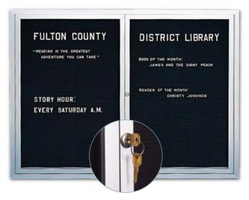 This metal framed message board has continuous close piano hinges that keep the doors closed and locked.