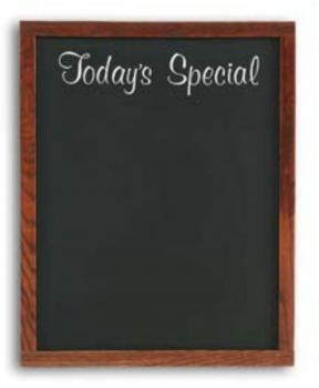 A small chalkboard menu that is framed in wood for changing specials daily.