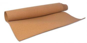 A roll of cork is shown partly unrolled. The cork is 1/4 inch deep and can be placed anywhere you need a new sigh or to replace old cork on a tack board or bulletin board.