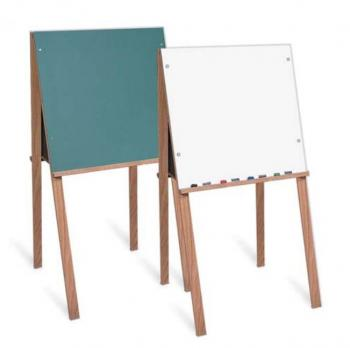 Displayed free standing chalkboard and white boards for kids. Each board is wooden framed ad folds for easy storage.