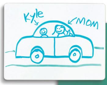 A students picture of a car is drawn on a mini dry erase board. These boards are small enough to be used on the desk of individual student.