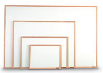 Four White Dry Erase boards with wood frames.