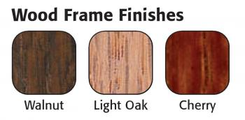 Dry erase board frame finish color swatches, Walnut, Light oak, and Cherry..