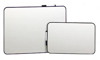 Two small whiteboards with black trim.